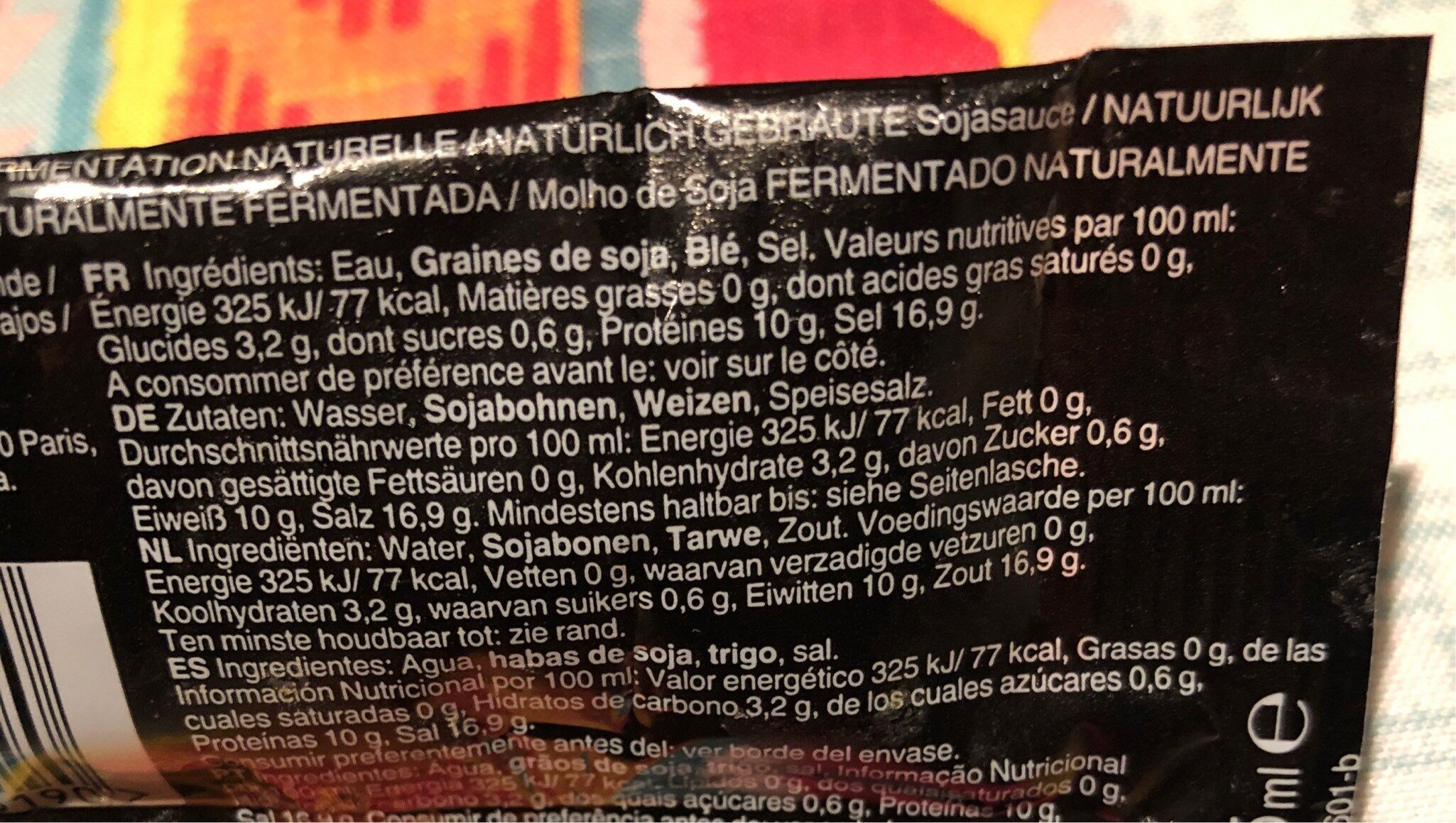 Sauce soja - Informations nutritionnelles