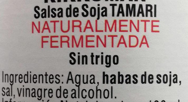 Natürlich gebraute Tamari Sojasauce - Ingredientes