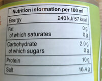 Gluten-free soy sauce - Nutrition facts - en
