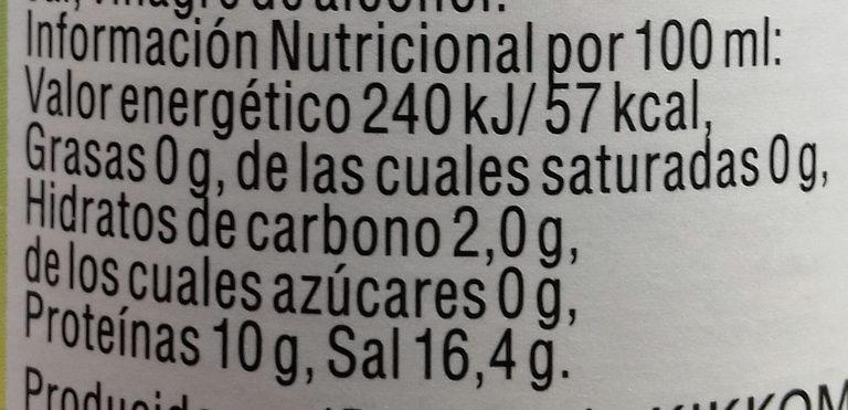 Natürlich gebraute Tamari Sojasauce - Información nutricional