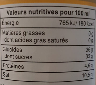 Sauce wok 250 ml - Voedingswaarden - fr