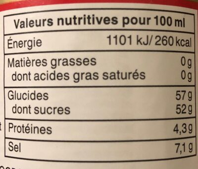 Sauce soja sucrée - Informations nutritionnelles - fr