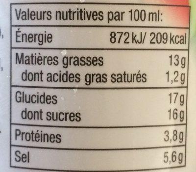 Onion dressing - Sauce salade à l'oignon - Informations nutritionnelles - fr