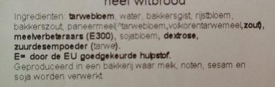 Boeren wit tijger heel witbrood - Ingrediënten - nl
