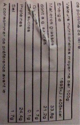 Cheddar rouge rapé - Informations nutritionnelles - fr