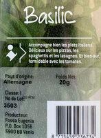 Basilic - Ingredients