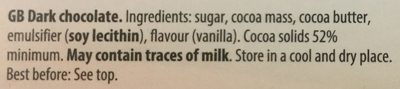 Chocolade Letter S puur chocolade - Ingredients - en