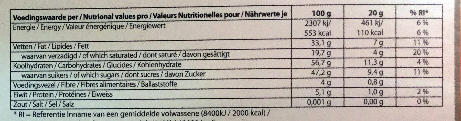 Chocolade Letter S puur chocolade - Nutrition facts - nl
