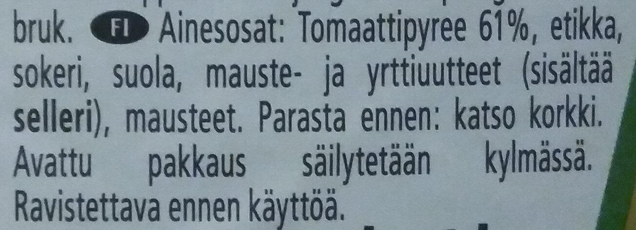Tomato Ketchup - Ainesosat - fi