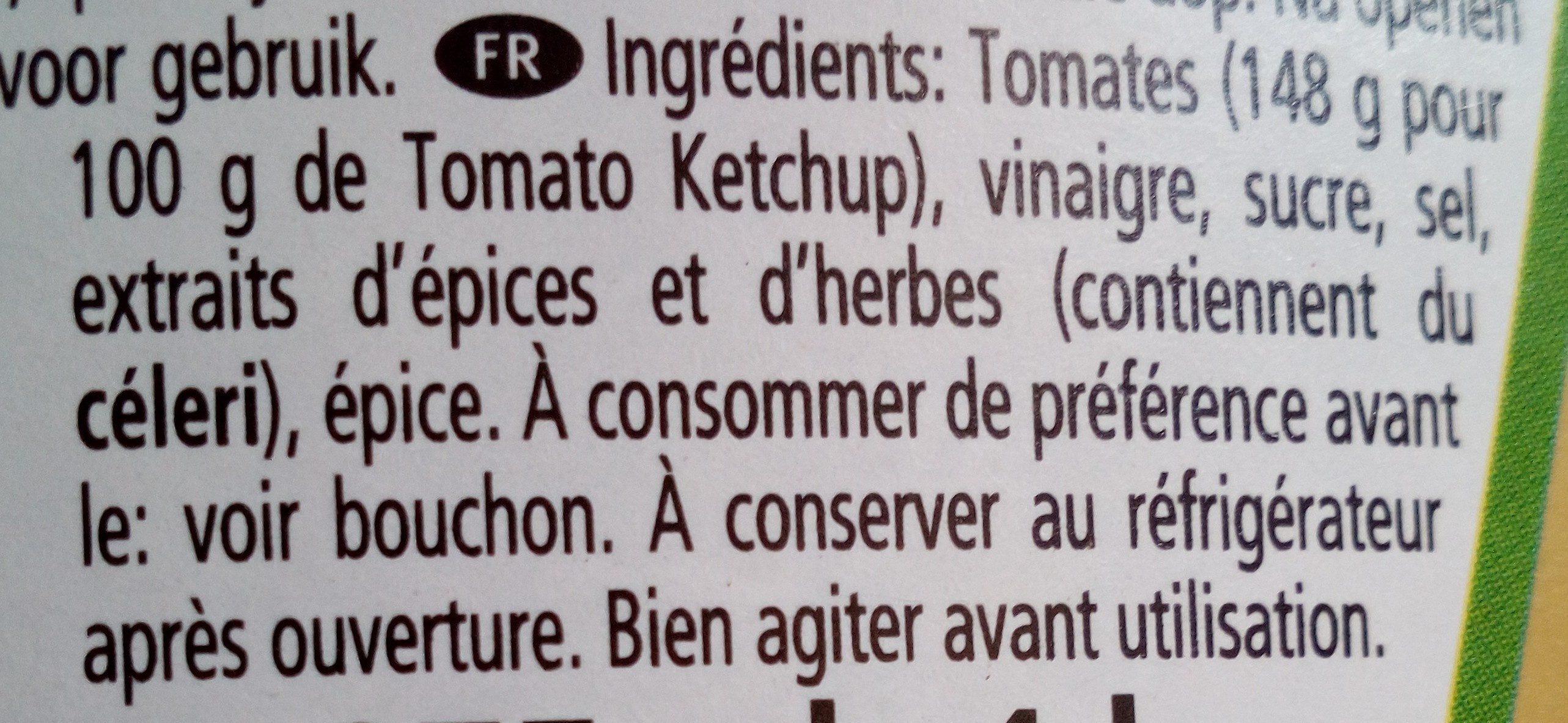 Ketchup 1000g - Ingredienser - fr