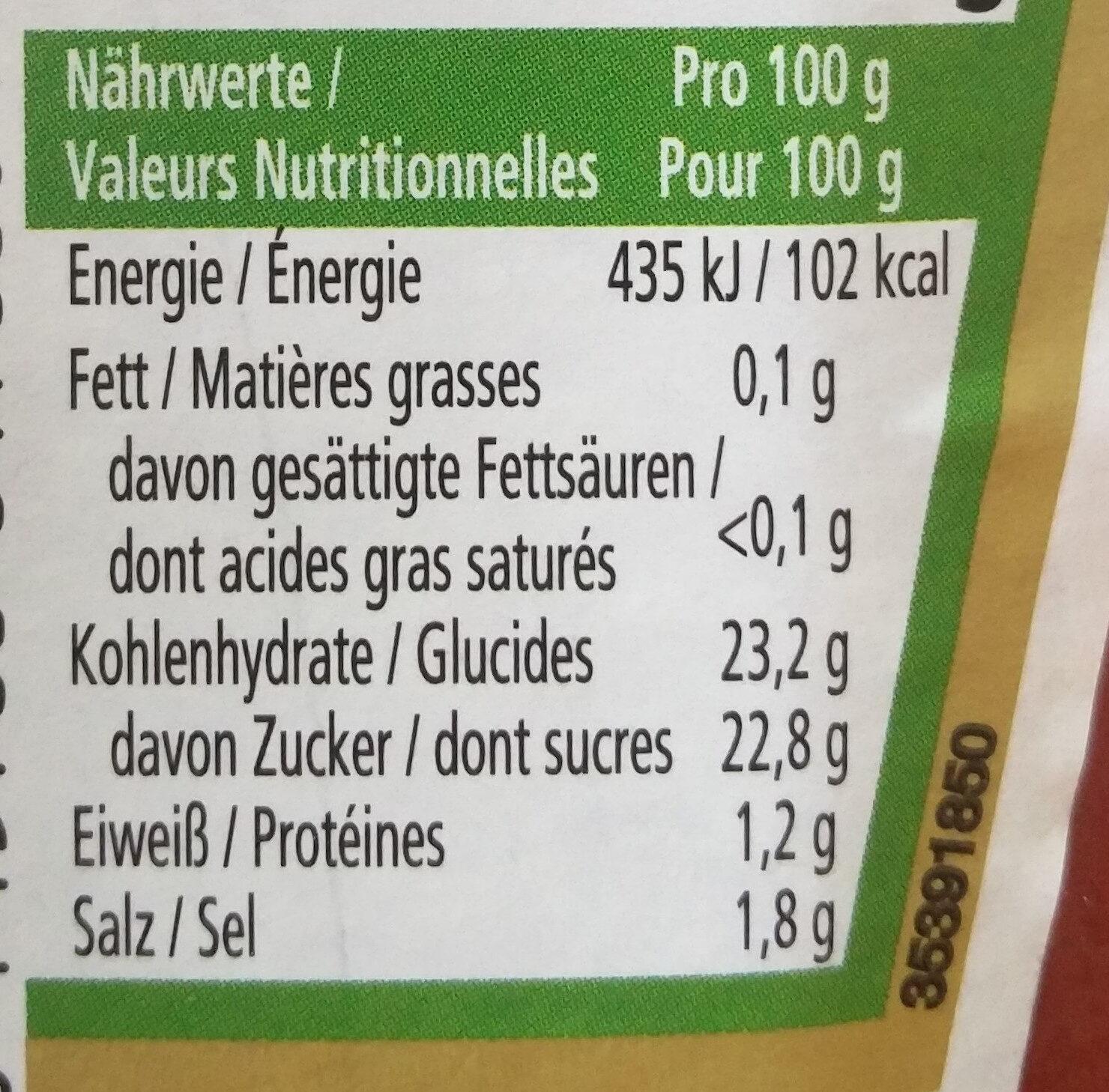 Ketchup - Nährwertangaben - de