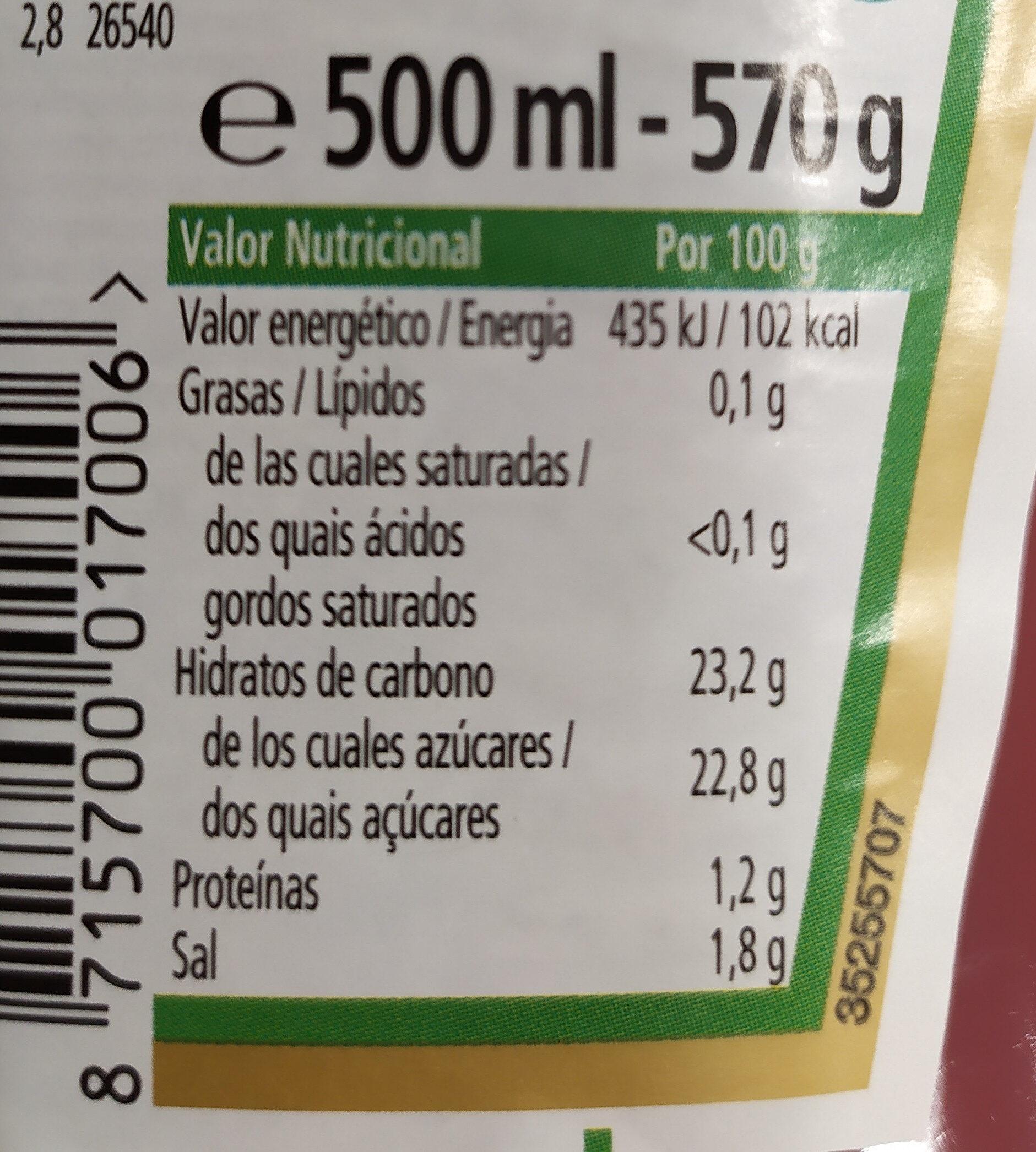 KETCHUP - Información nutricional - es