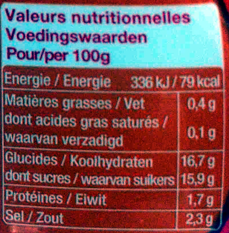 Ketchup P'tits Heinz - Nutrition facts - fr