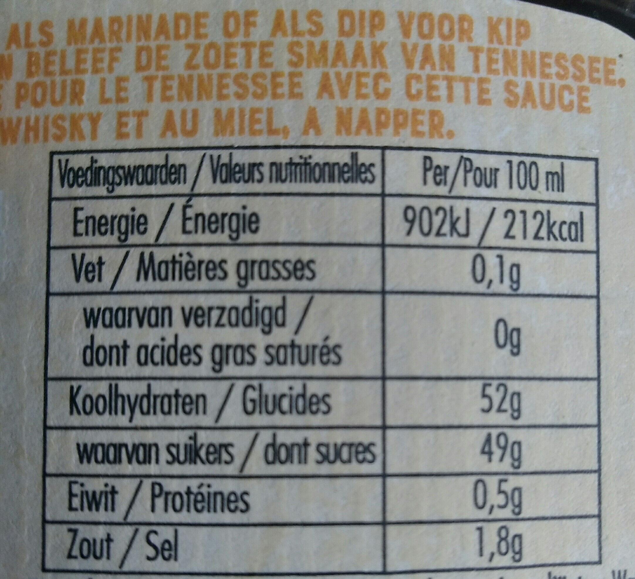 sauce à napper, bull's-eye, Sweet whiskey - Nutrition facts - fr