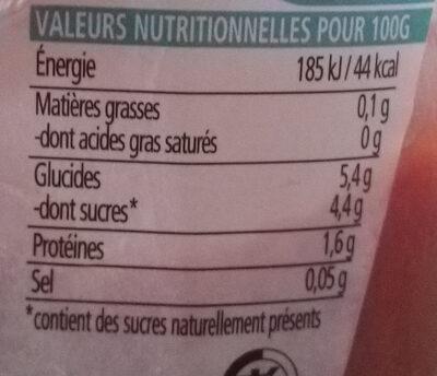 Tomato ketchup sans sucres ni sel ajoutés - Información nutricional - fr