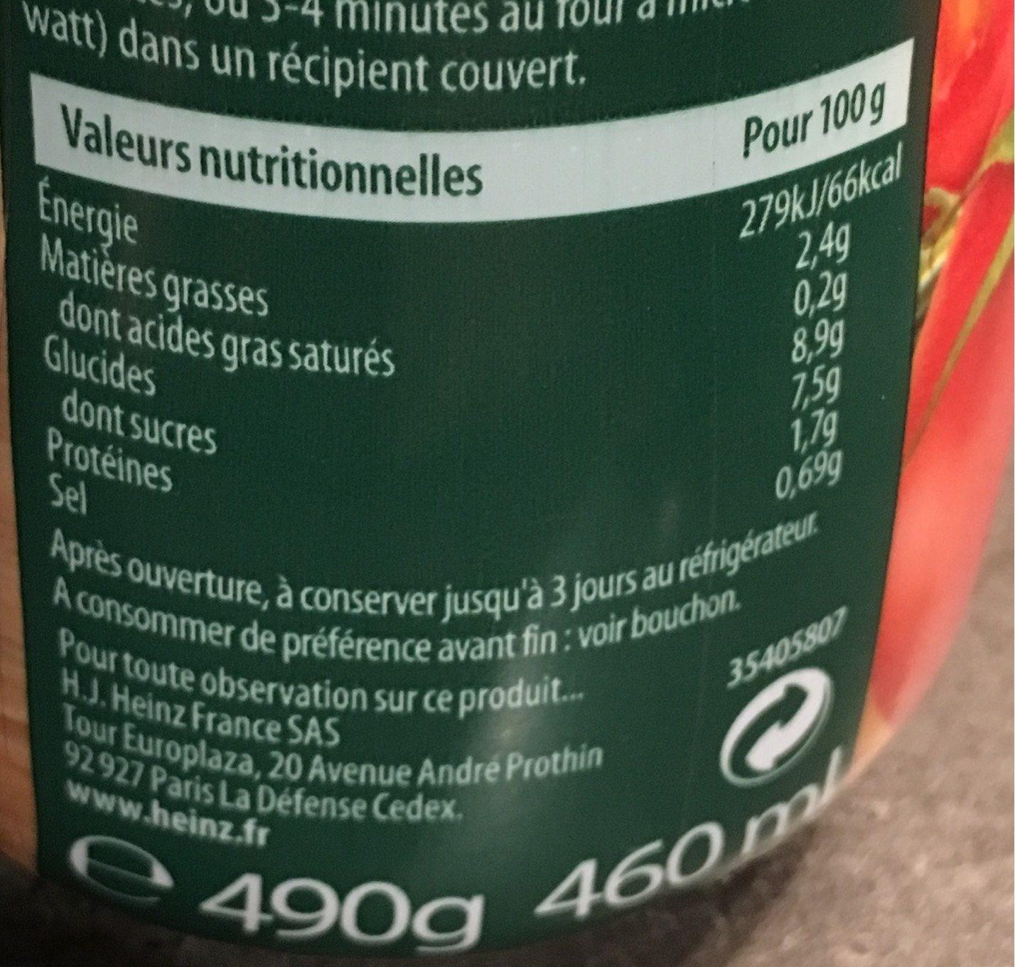 Sauce tomate provençale - Informations nutritionnelles