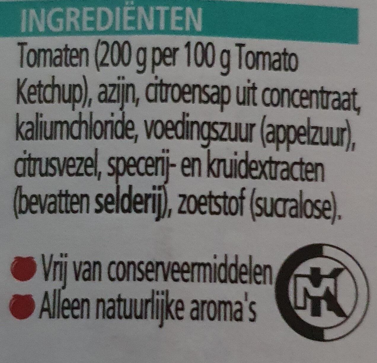 Tomato Ketchup, zonder toegevoegde suikers & zout - Inhaltsstoffe - nl