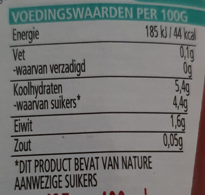 Tomato Ketchup, zonder toegevoegde suikers & zout - Nutrition facts - nl