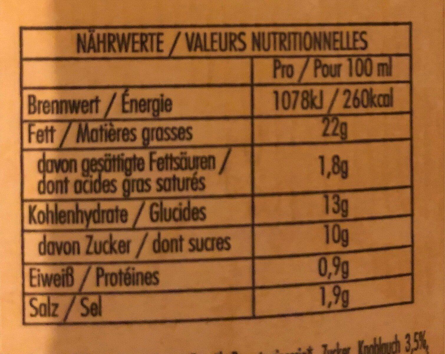 Bull's Eye Spicy Garlic Sauce - Nutrition facts