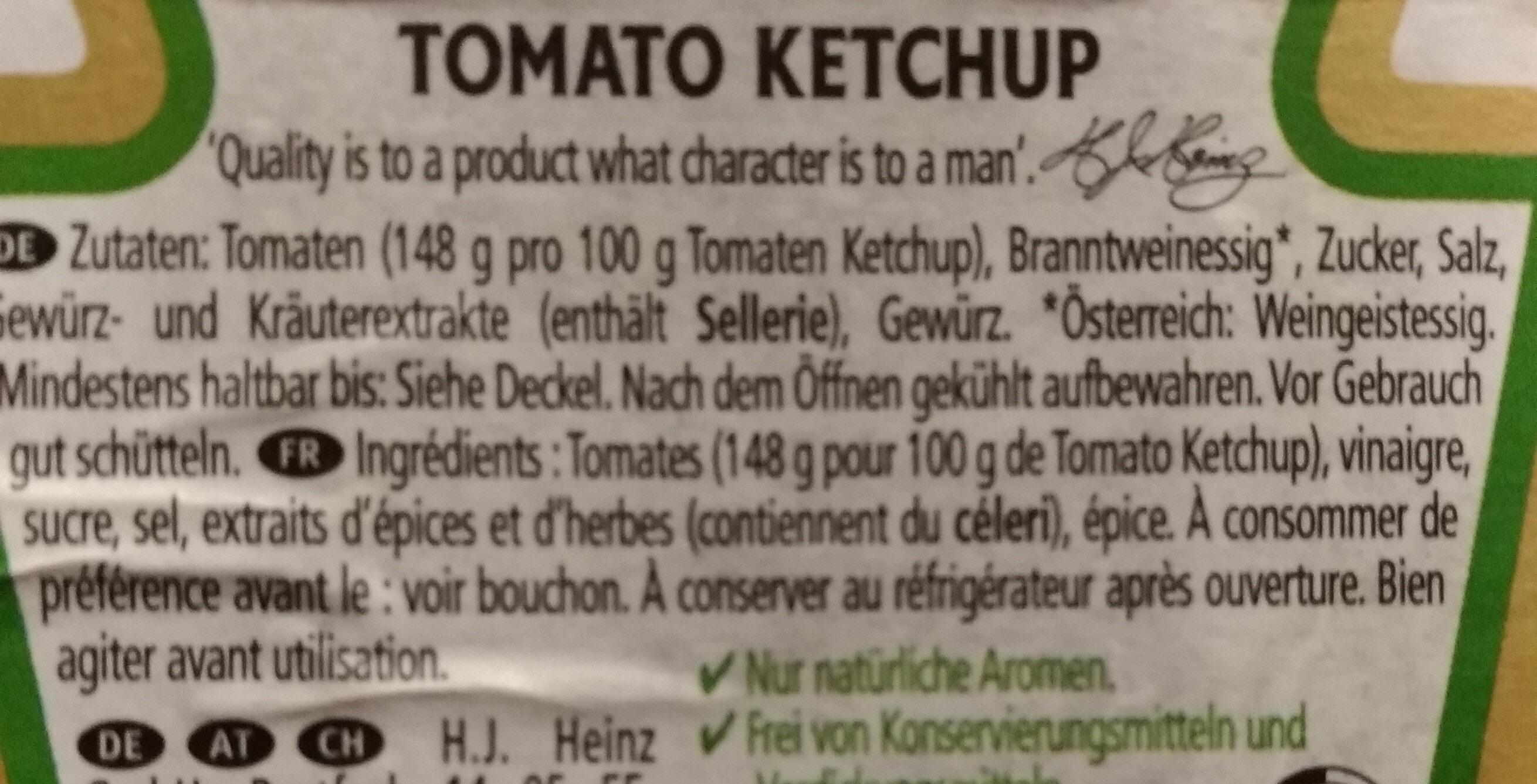 Heinz Ketchup - Ingrédients