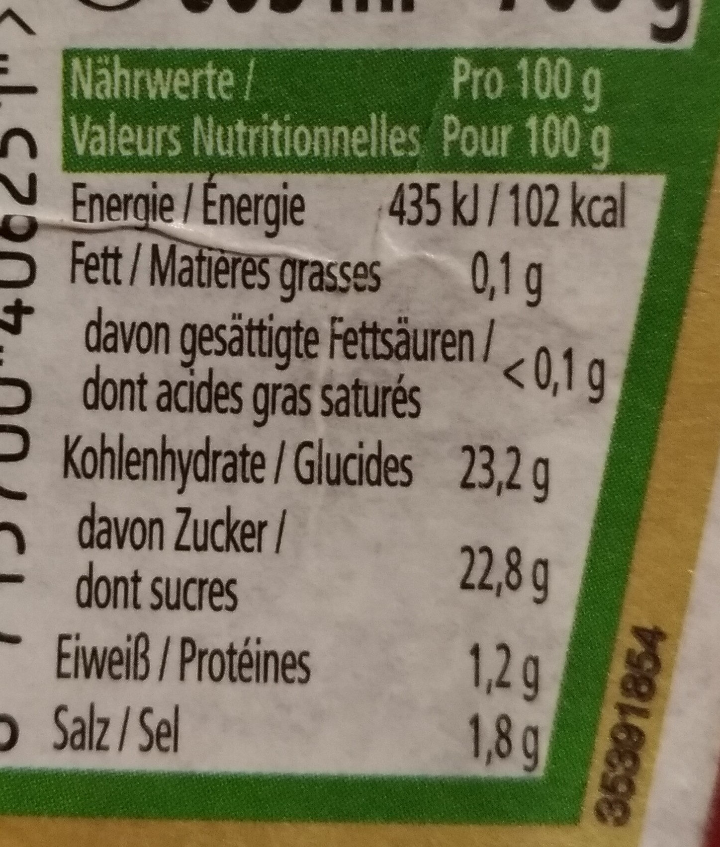 Heinz Ketchup - Informations nutritionnelles