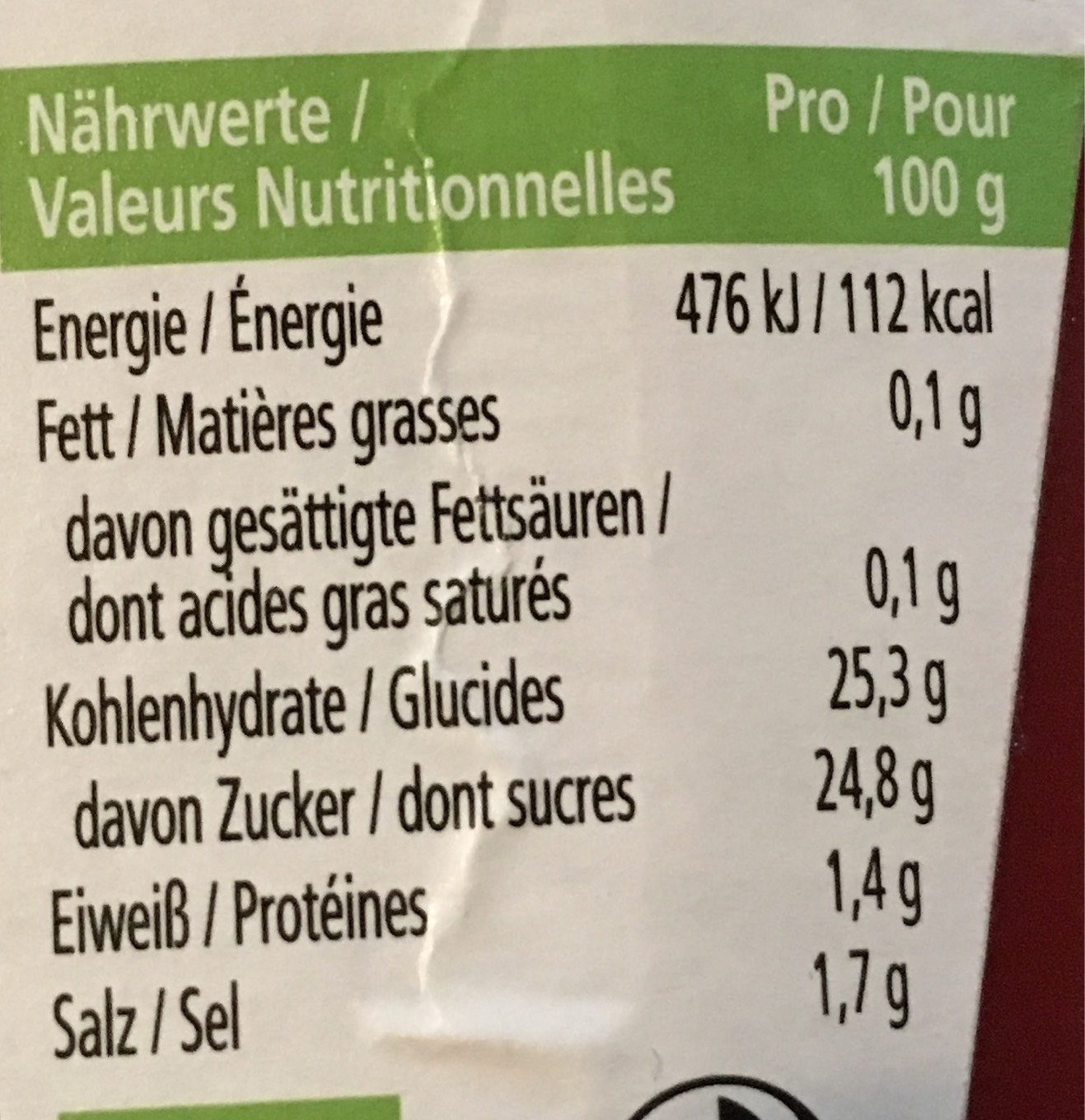 Tomato Ketchup BIO - Nutrition facts - fr