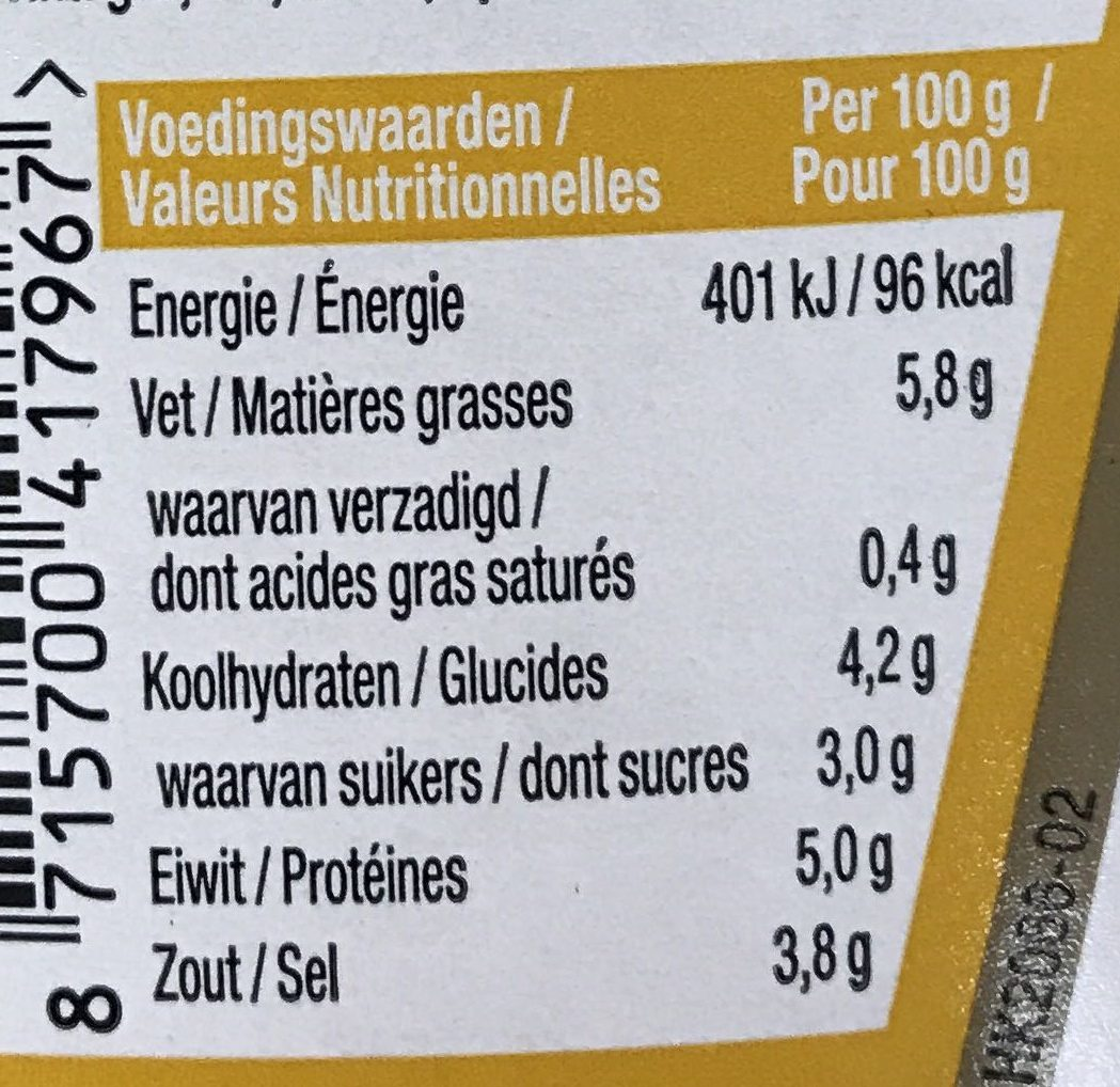 Mustard / Moutarde - Nutrition facts
