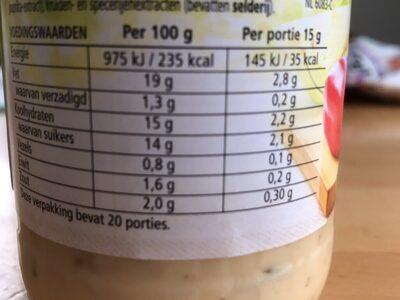 Heinz Sandwich Spread naturel - Nutrition facts - nl