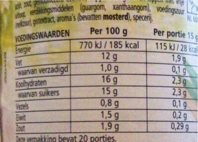 Heinz Sandwich Spread Tomaat Lenteui - Voedingswaarden - nl