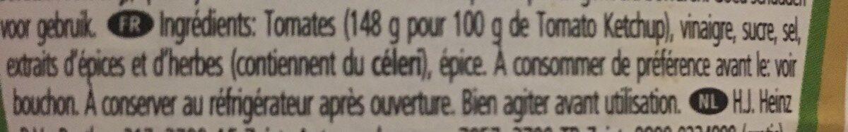 Heinz Ketchup - Ingrediënten - fr