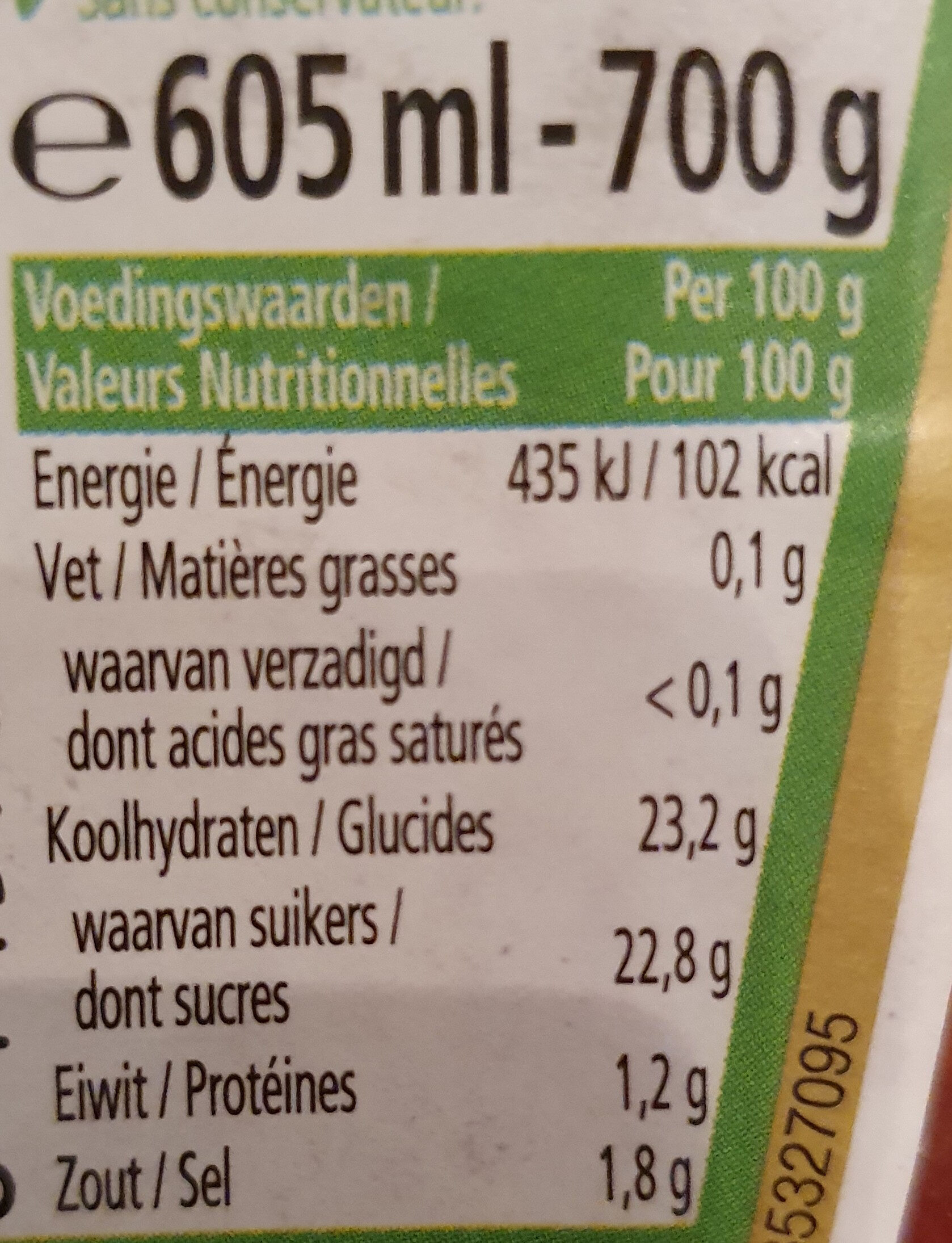 Heinz Ketchup - Voedingswaarden - fr