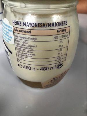Mayonesa con huevo de gallinas camperas - Informació nutricional - es