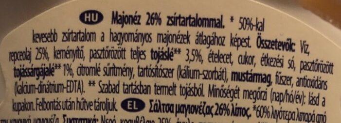 Light mayonnaise - Ingredients - hu