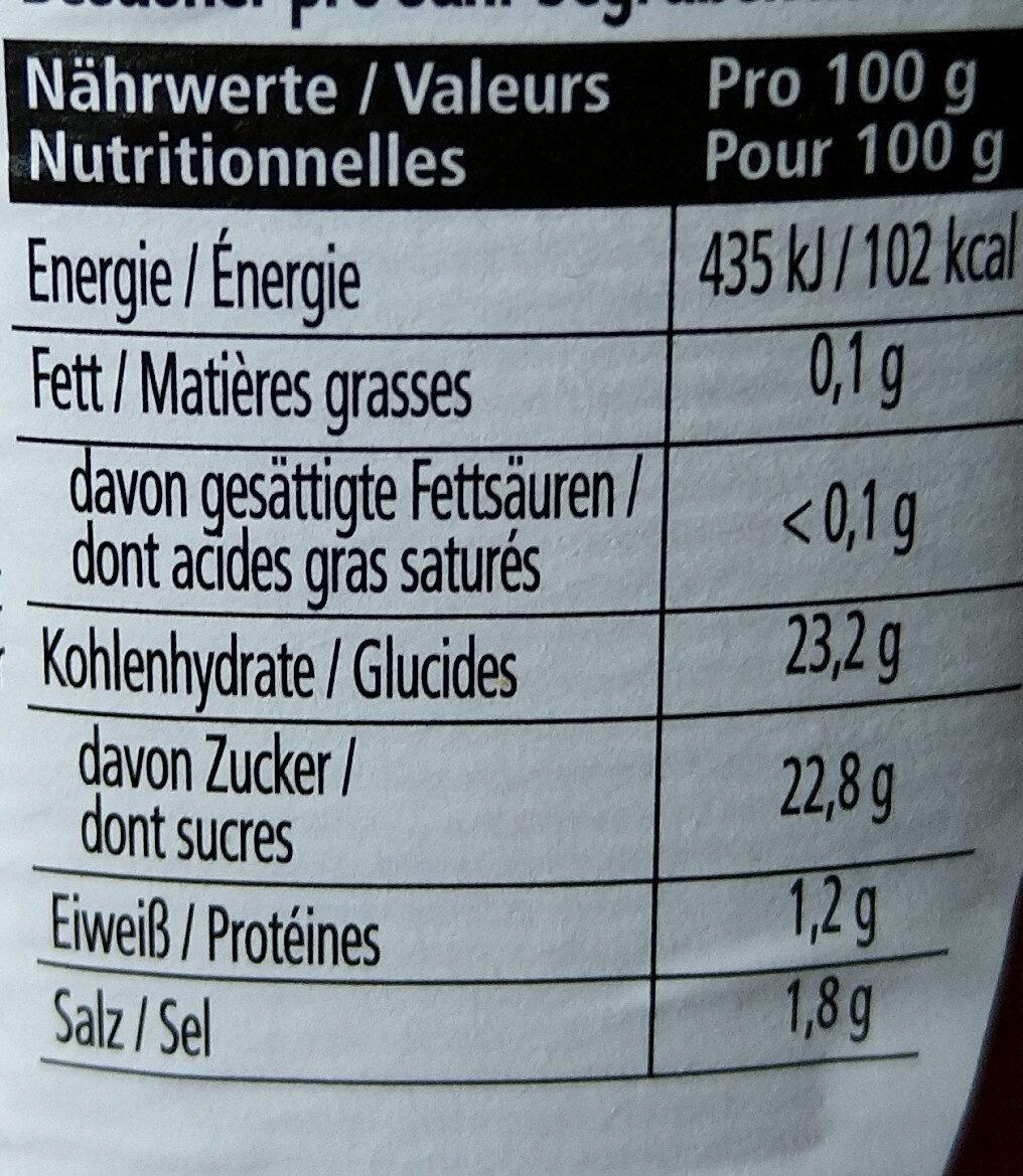 Tomato Ketchup - Informations nutritionnelles - de