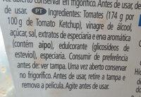 Tomato ketchup 50% menos azúcar - Ingredientes - pt
