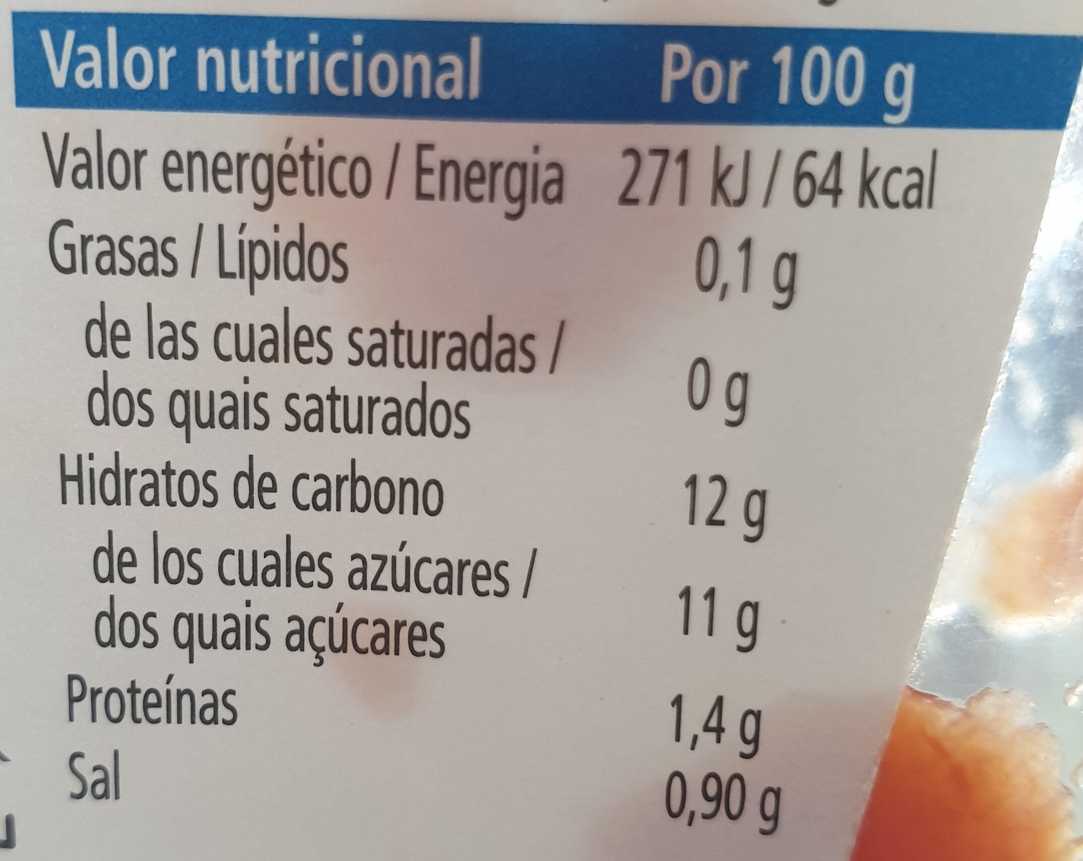 Tomato ketchup 50% menos azúcar - Informação nutricional - pt