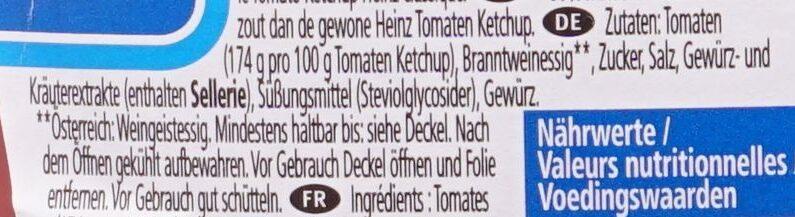 Tomato Ketchup 50% moins de sucres & de sel - Zutaten - de