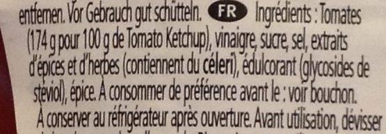 Ketchup 50% Moins de Sucre et de Sel - Ingrédients - fr