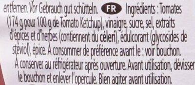 Tomato Ketchup 50% moins de sucres & de sel - Ingrédients - fr