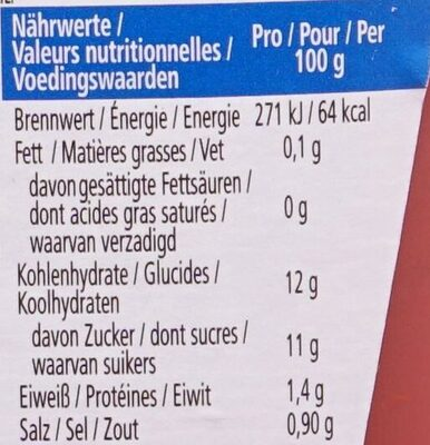 Tomato Ketchup 50% moins de sucres & de sel - Nährwertangaben - de