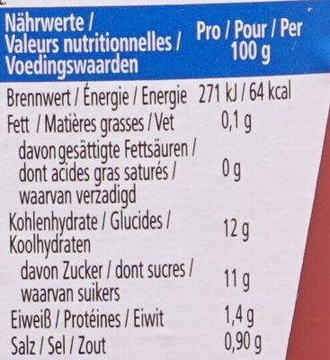 Tomato Ketchup 50% moins de sucres & de sel - Informations nutritionnelles - fr