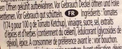 Ketchup 50% Moins de Sucre et de Sel - Informations nutritionnelles - fr