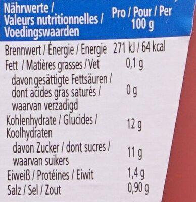 Tomato Ketchup 50% moins de sucres & de sel - Voedingswaarden