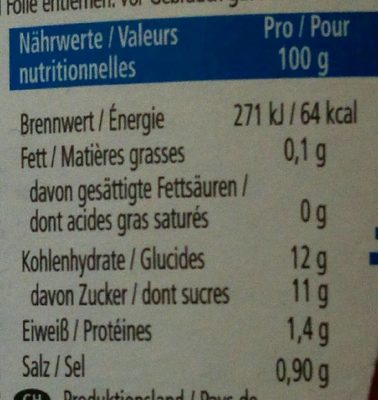 Tomatoketchup 50% - Nutrition facts