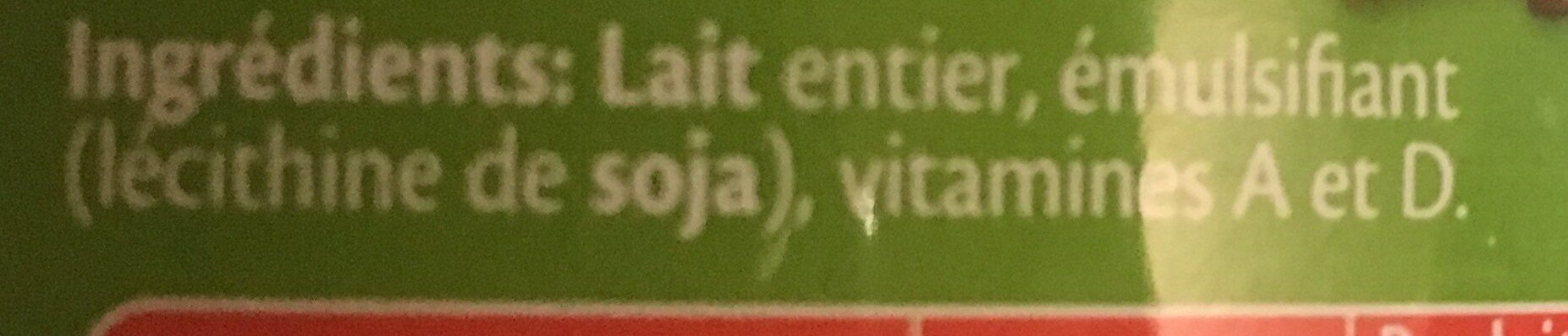 Bonnet rouge lait entier en poudre - Ingrédients - fr