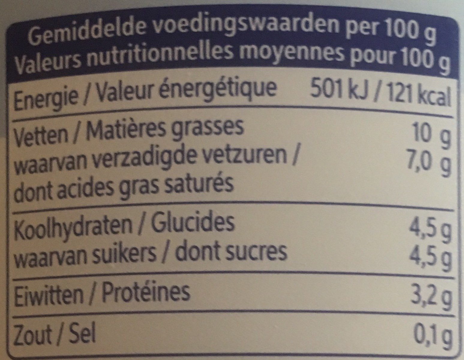 Griekse stijl - Informations nutritionnelles - fr