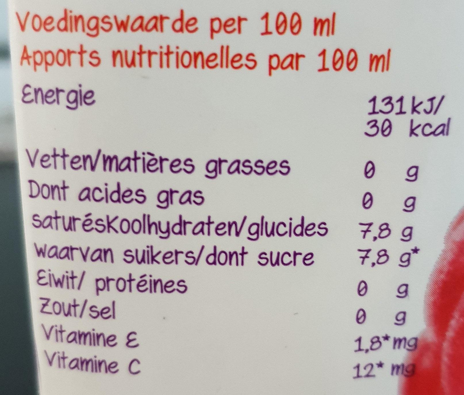 Yagua Framboise et thé vert - Voedingswaarden