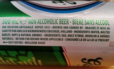 Grolsch non Alcoholic BEER - Ingrediënten - en