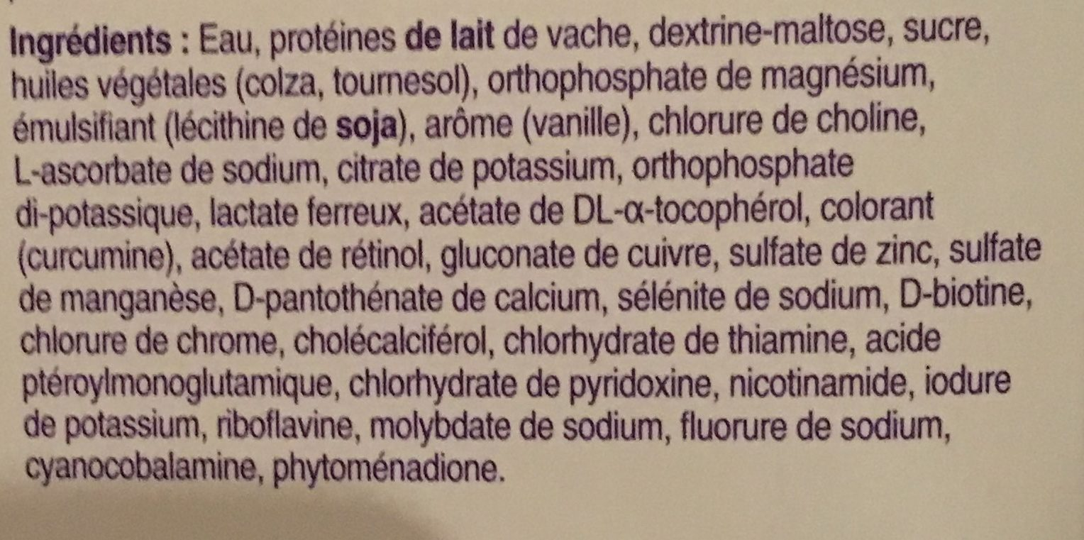 Fortimel Protein arôme vanille - Ingrédients - fr