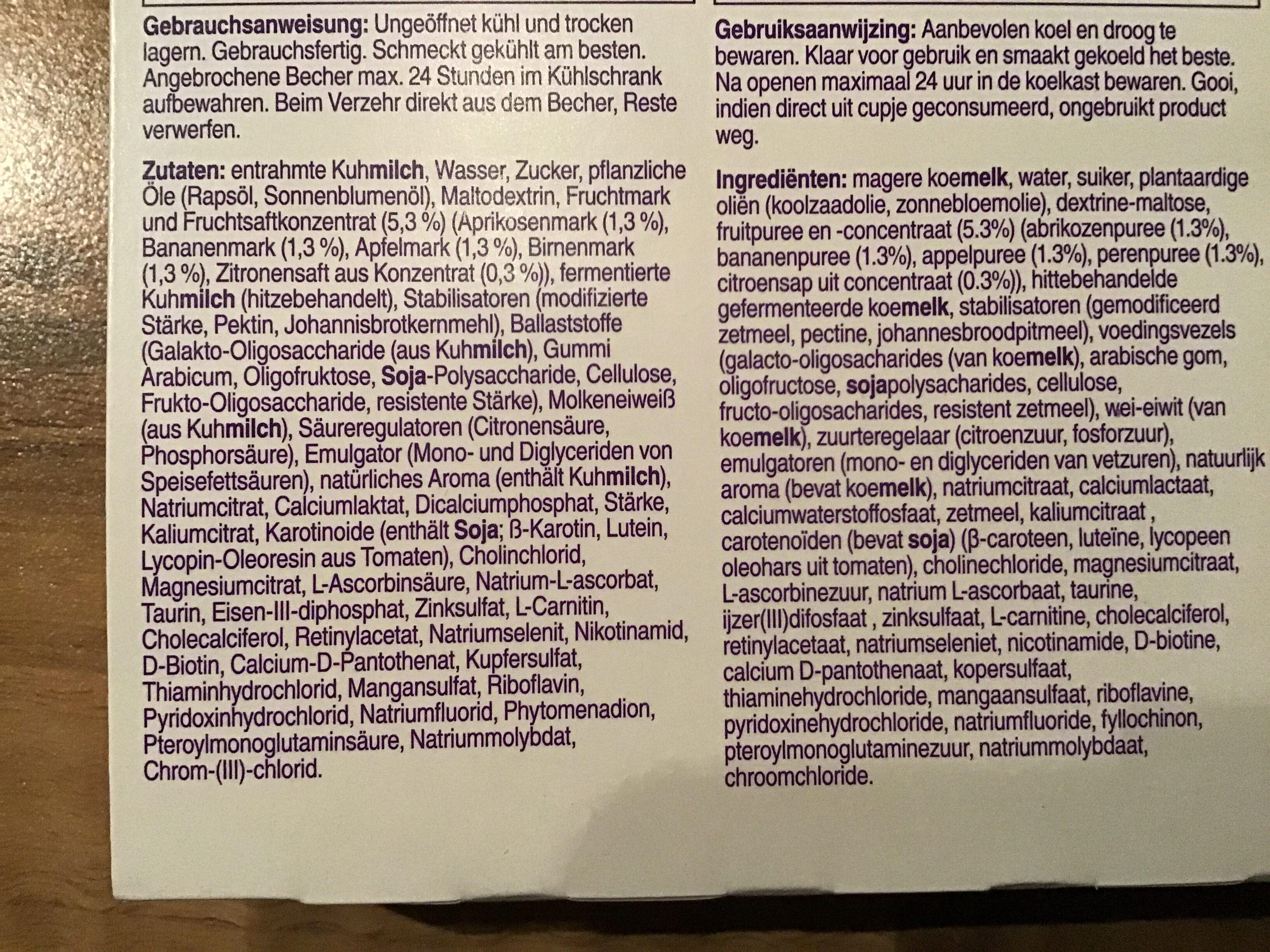 Nutricia NutriniCreamy Fruit - Inhaltsstoffe - de